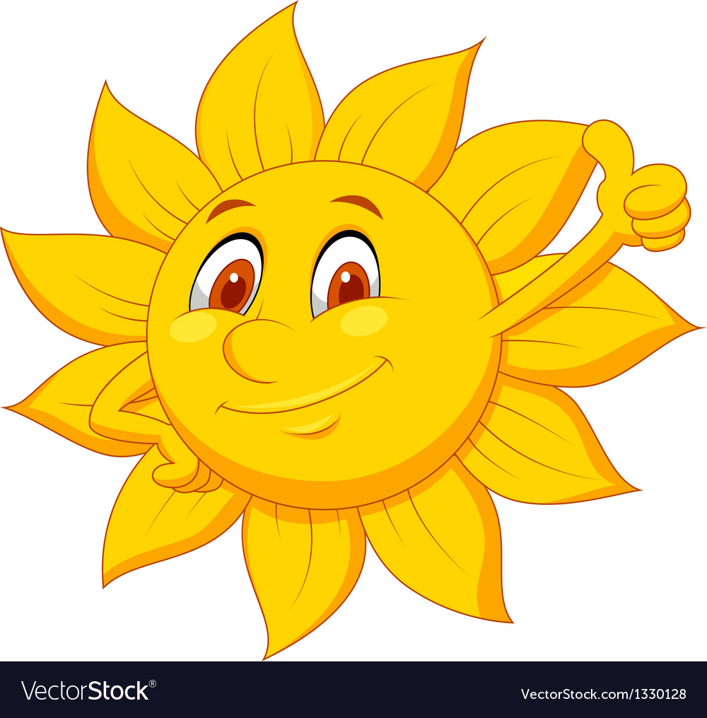 Sun cartoon character with thumb up vector | Price: 1 Credit (USD $1)