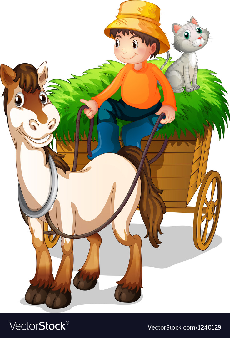 A farmer riding a cart with a cat at the back vector | Price: 1 Credit (USD $1)