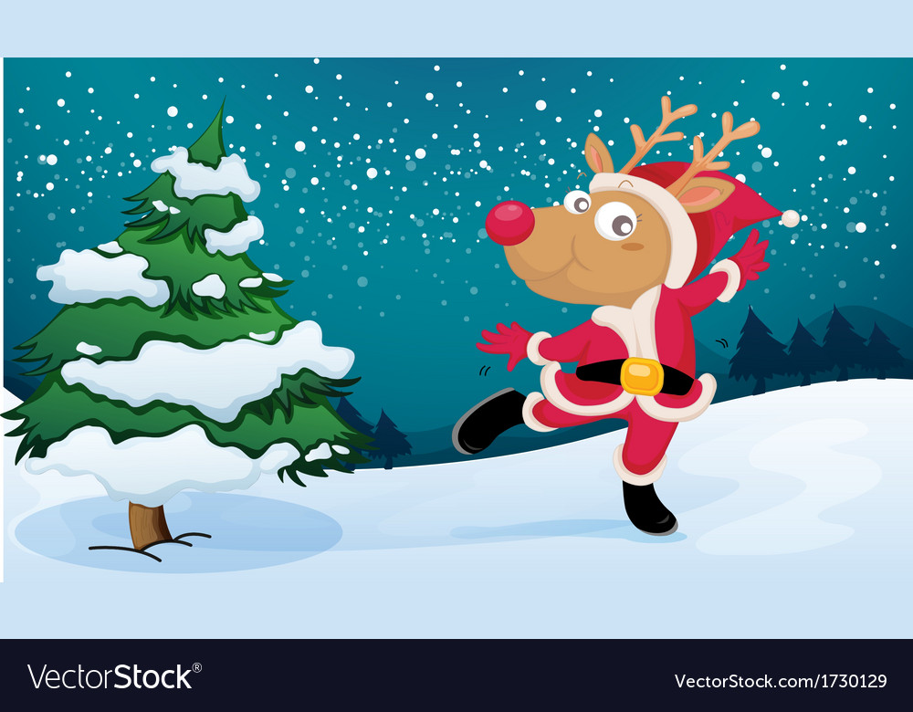 A playful reindeer wearing santas outfit vector | Price: 1 Credit (USD $1)