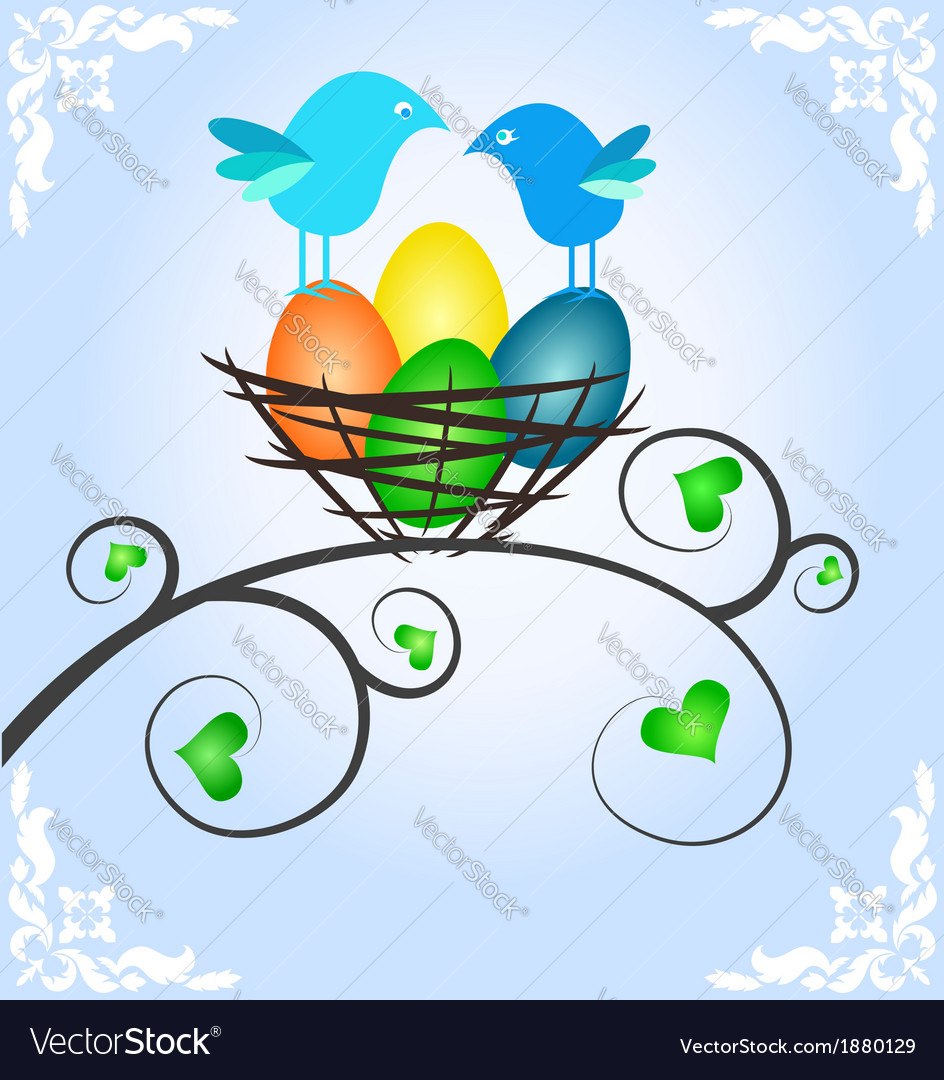 Easter picture with birds vector | Price: 1 Credit (USD $1)