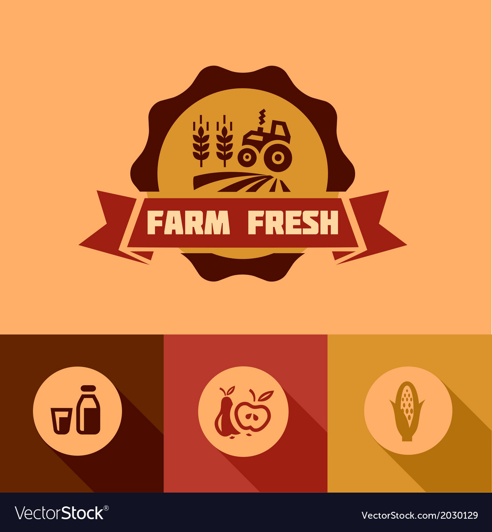Flat farm fresh design elements vector | Price: 1 Credit (USD $1)