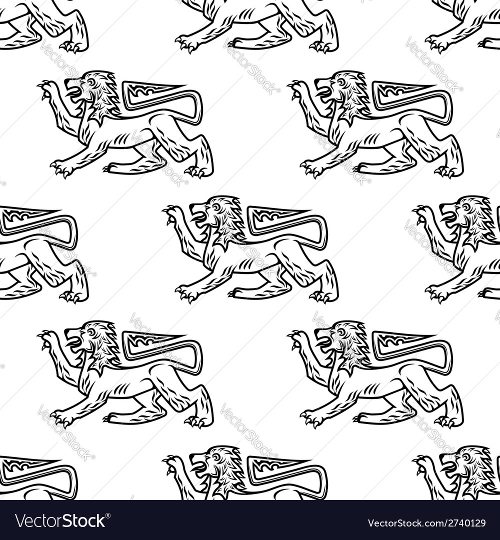 Great heraldic lion seamless vector | Price: 1 Credit (USD $1)