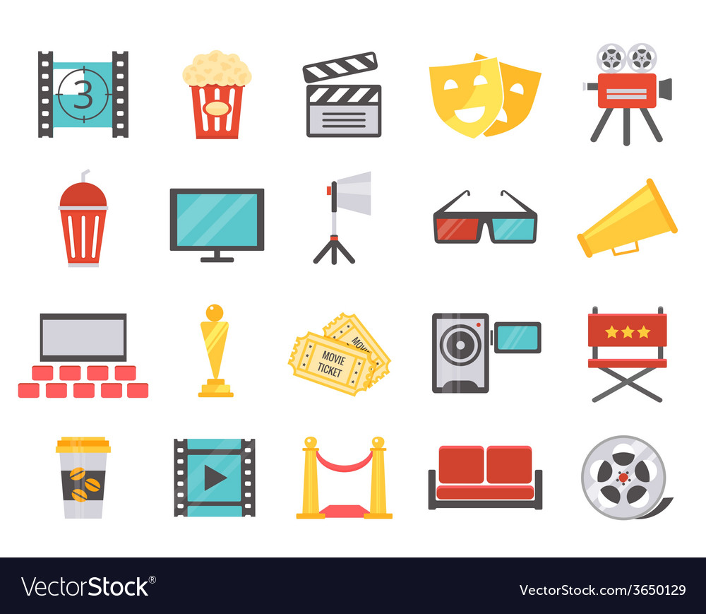 Modern cinema icons in flat style vector | Price: 1 Credit (USD $1)