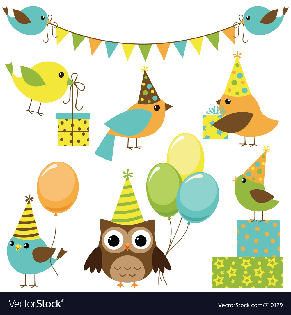 Party birds set vector | Price: 1 Credit (USD $1)