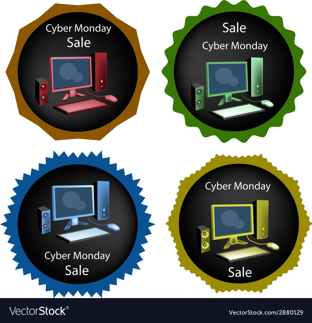 Pc computer on cyber monday sale background vector | Price: 1 Credit (USD $1)