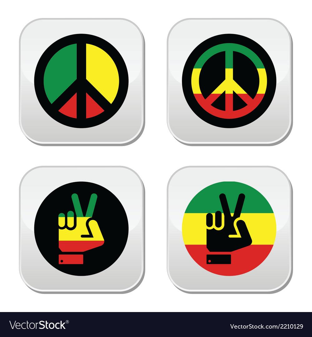 Rasta peace hand gesture icons set vector | Price: 1 Credit (USD $1)