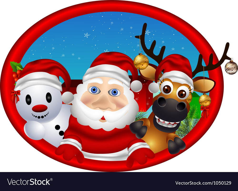 Santa claus deer and snowman vector | Price: 3 Credit (USD $3)