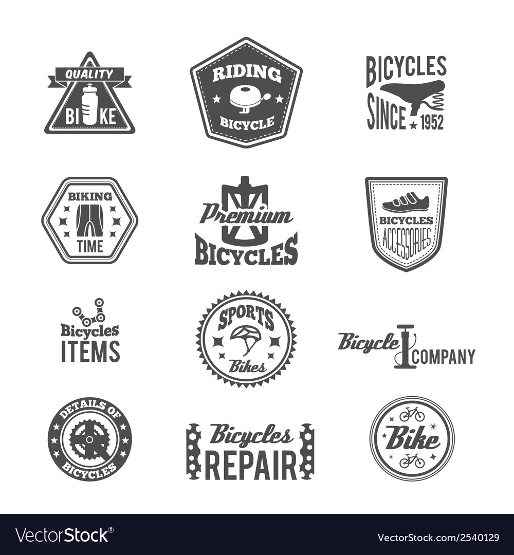 Set of bike monochrome label vector | Price: 1 Credit (USD $1)