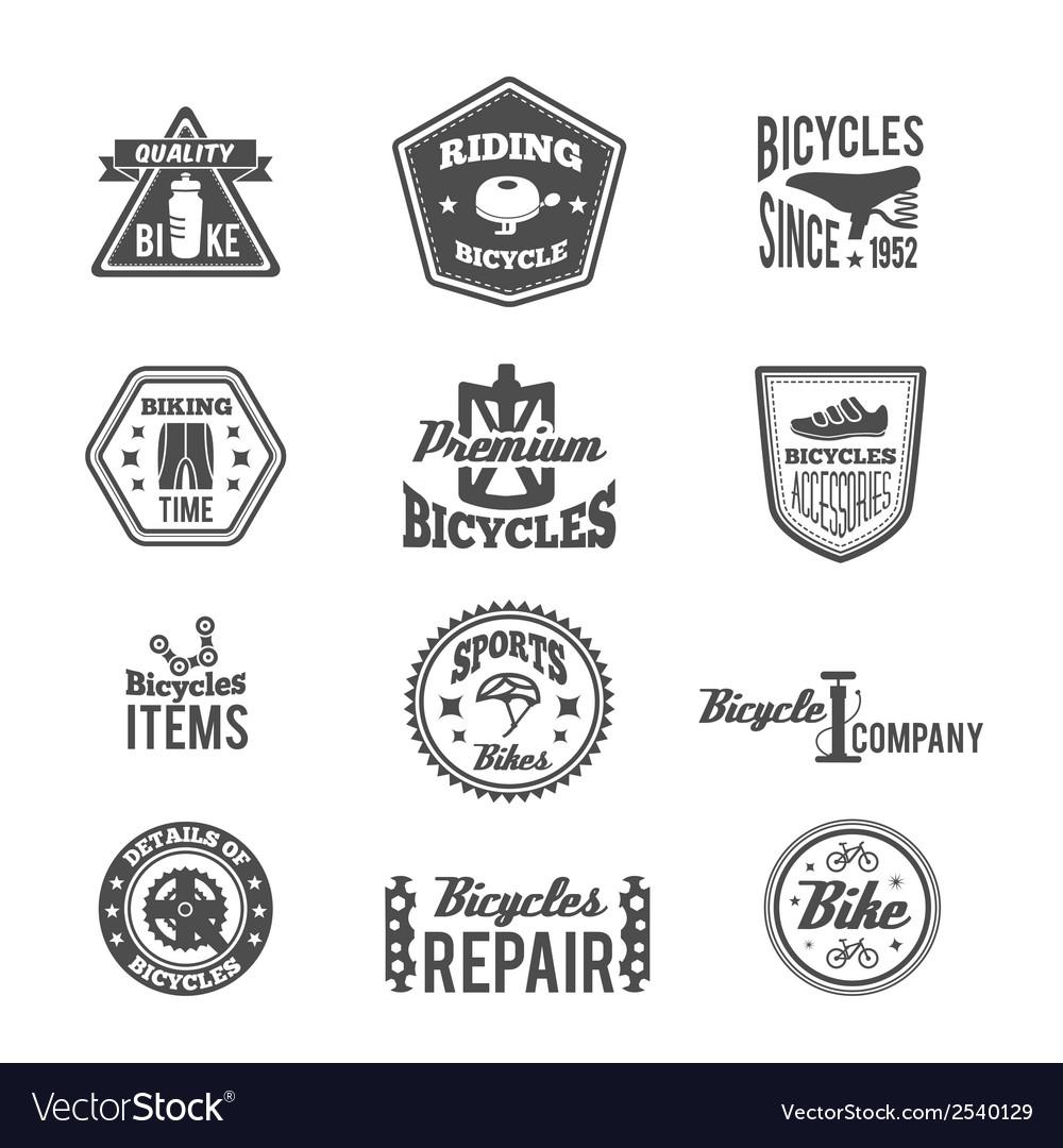 Set of bike monochrome label vector | Price: 1 Credit (USD $1)