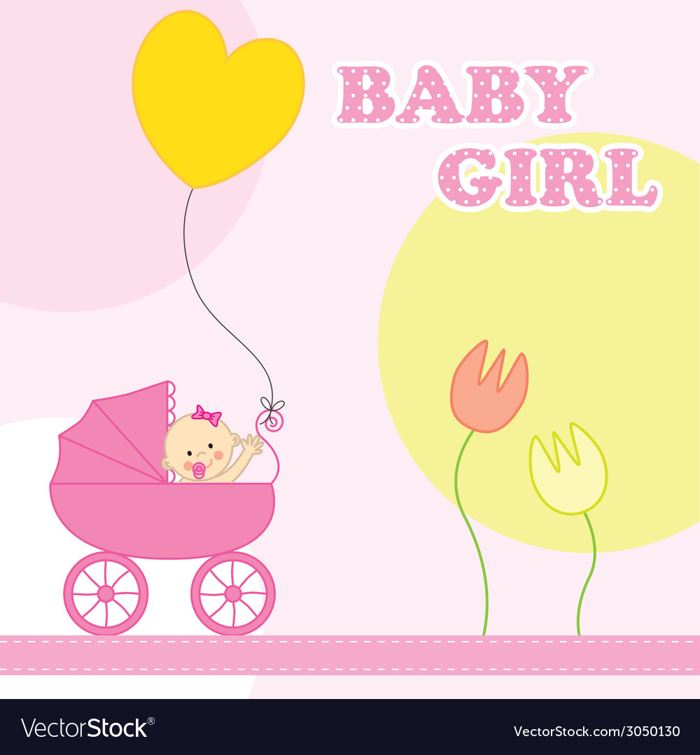 Baby girl birthday card vector | Price: 1 Credit (USD $1)