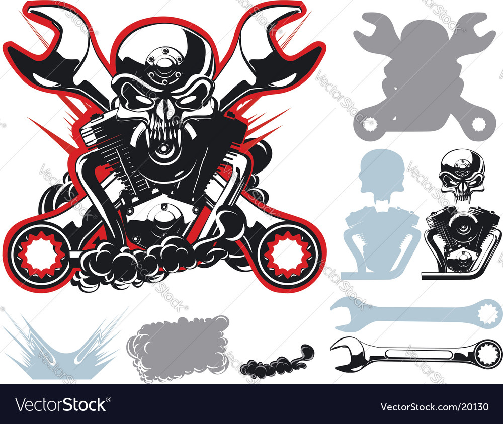 Bikers symbols set vector | Price: 3 Credit (USD $3)