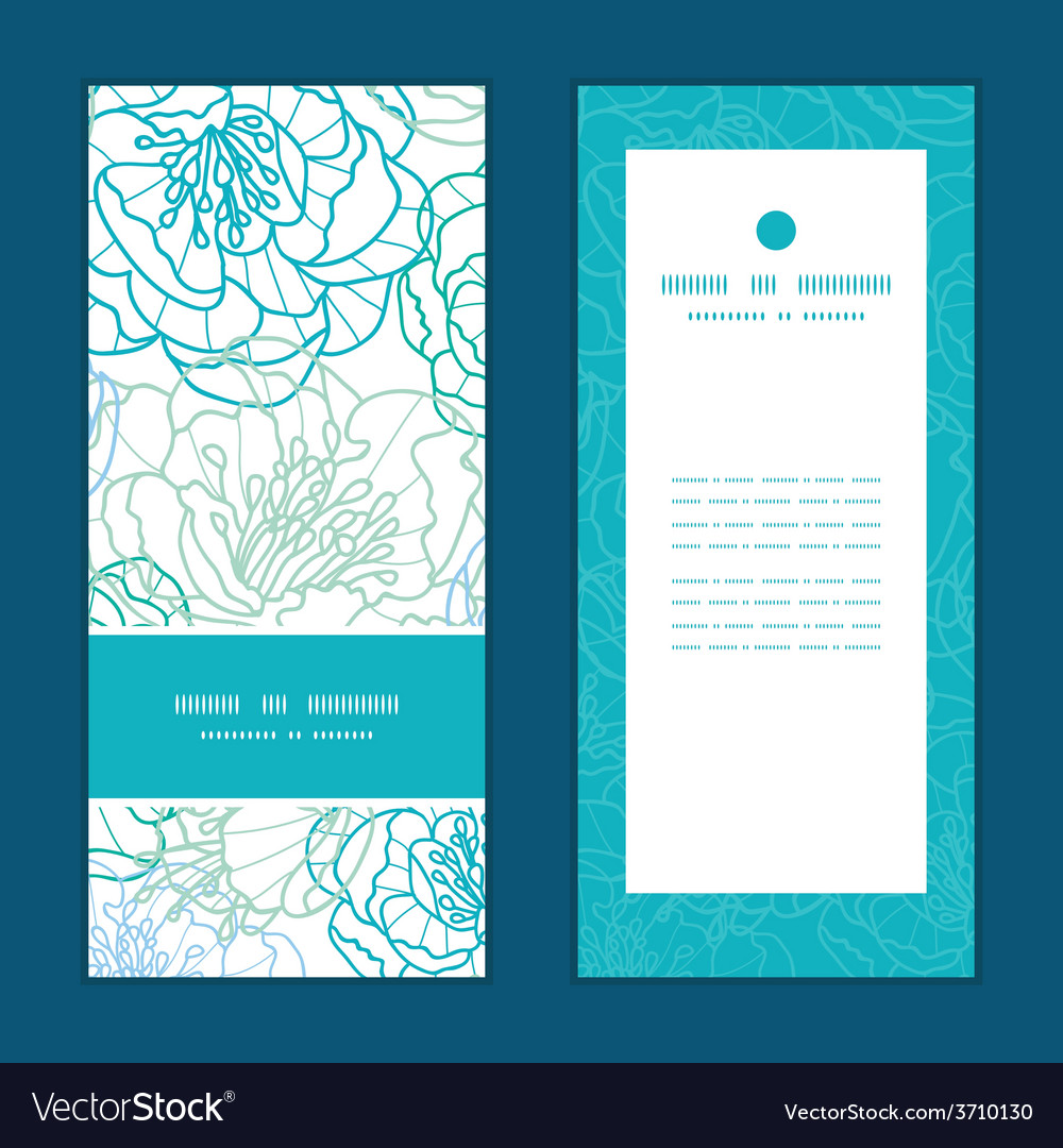 Blue line art flowers vertical frame vector | Price: 1 Credit (USD $1)
