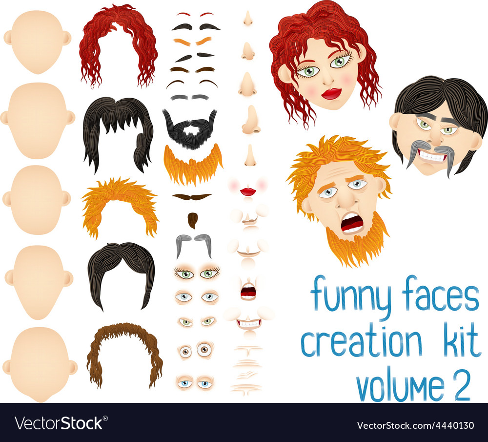 Cartoon face and body elements vector   Price: 1 Credit (USD $1)