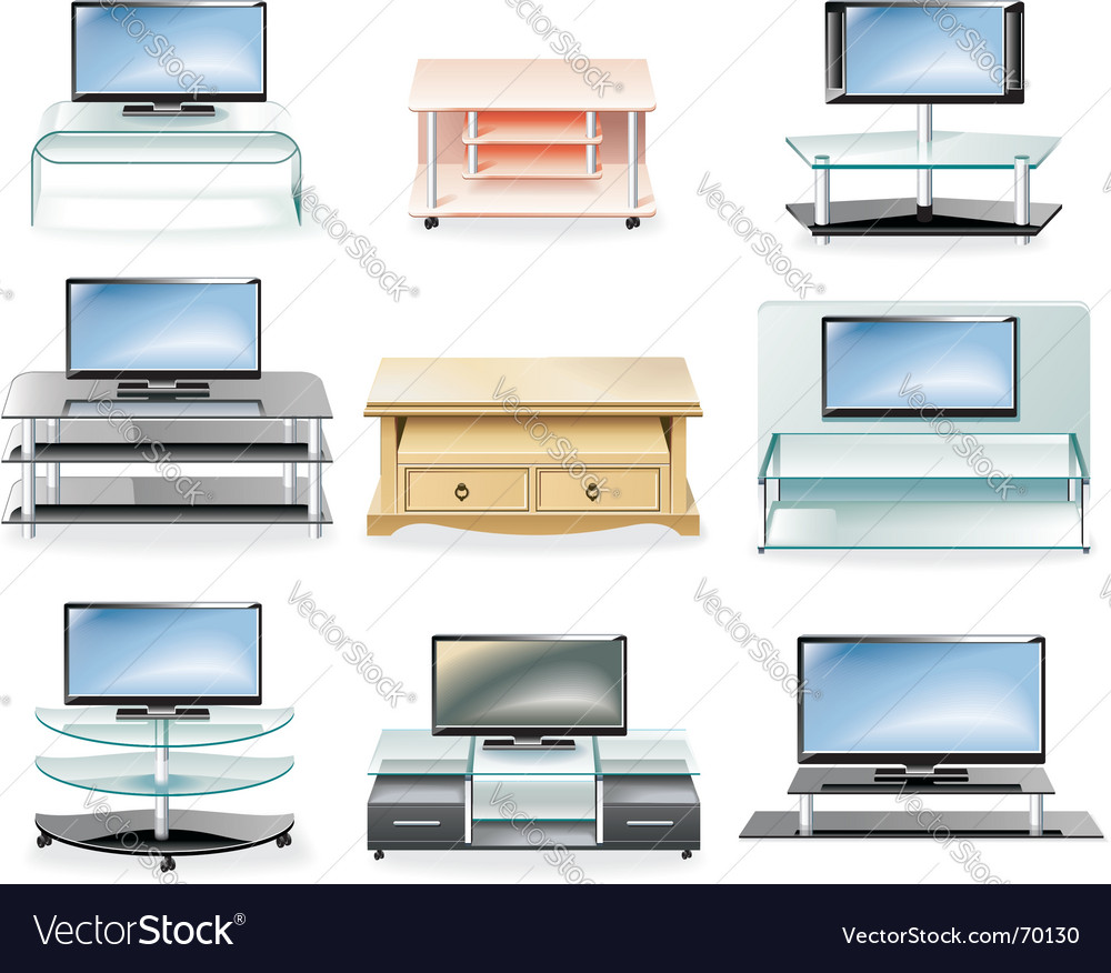Furniture icon set tv stands vector | Price: 3 Credit (USD $3)