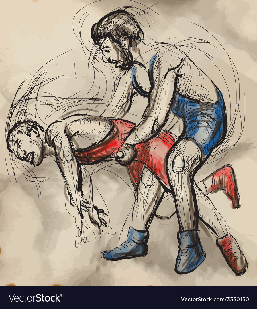 Greco-roman wrestling an hand drawn vector | Price: 3 Credit (USD $3)