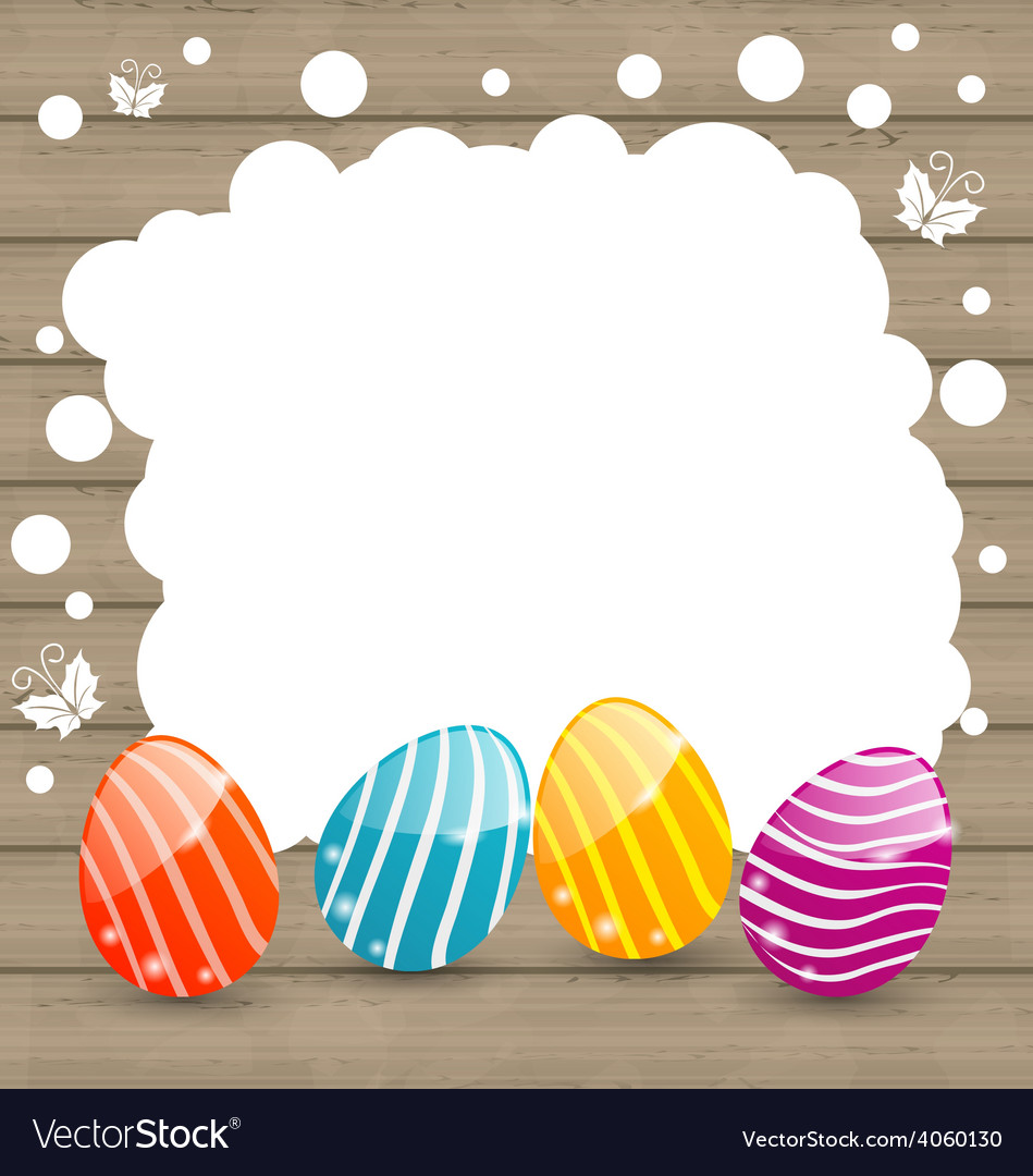 Holiday card with easter colorful eggs on wooden vector | Price: 1 Credit (USD $1)