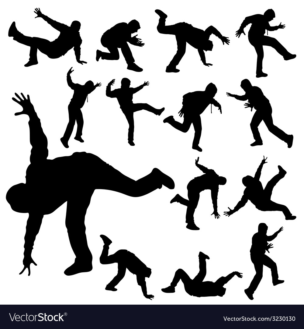 Man in various poses of break dance silhouette vector | Price: 1 Credit (USD $1)