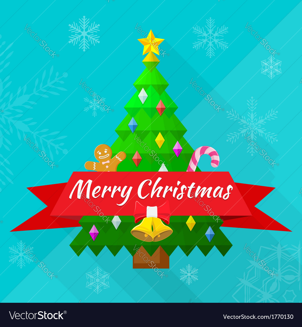 Merry christmas greeting card with tree and vector | Price: 1 Credit (USD $1)