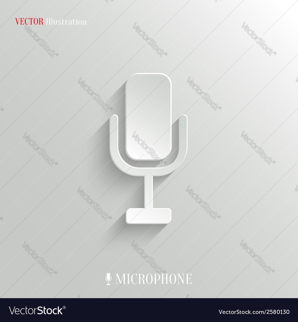 Microphone icon - white app button vector | Price: 1 Credit (USD $1)