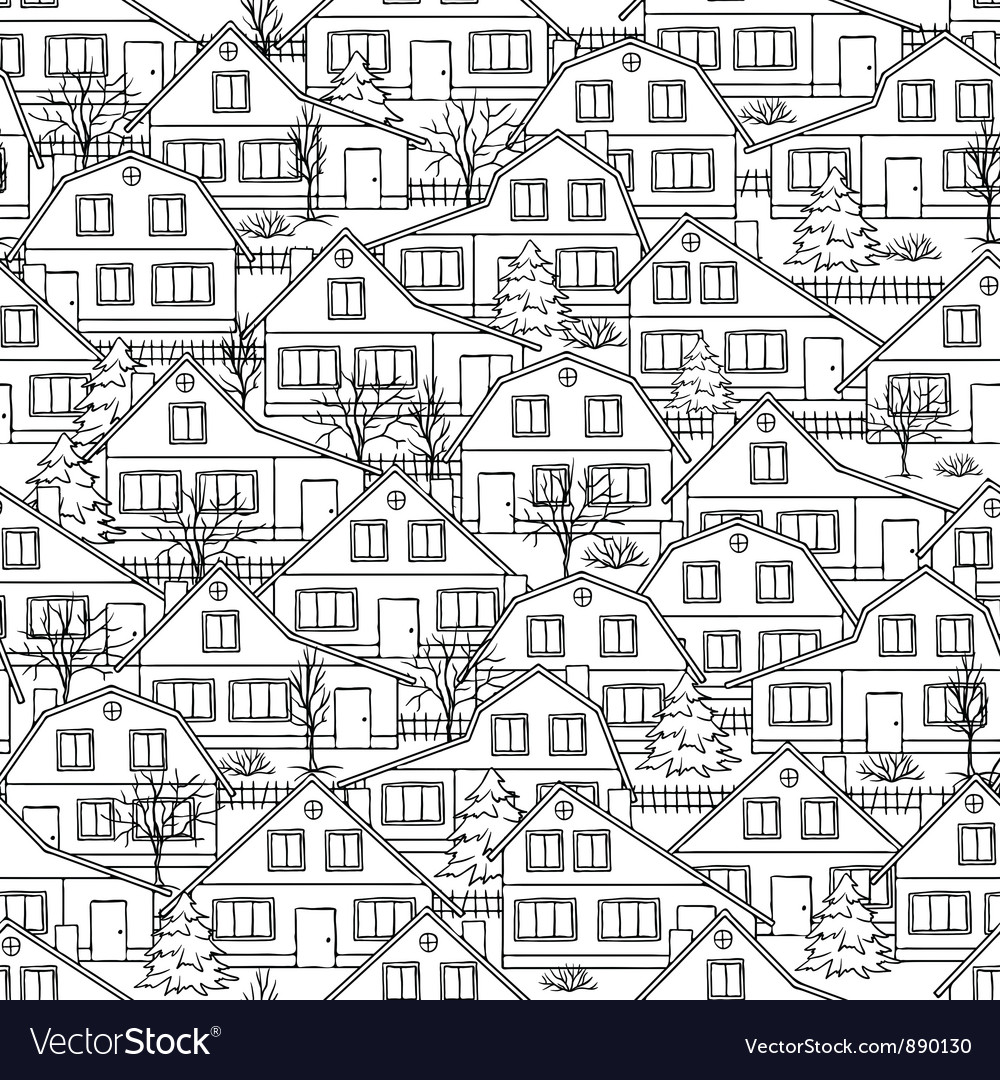 Seamless pattern with houses and trees vector | Price: 1 Credit (USD $1)