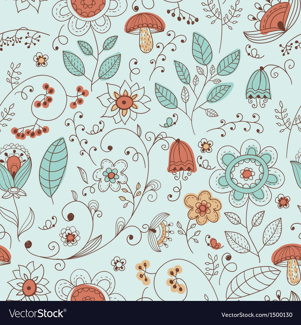 Seamless summer doodle style floral pattern vector | Price: 1 Credit (USD $1)