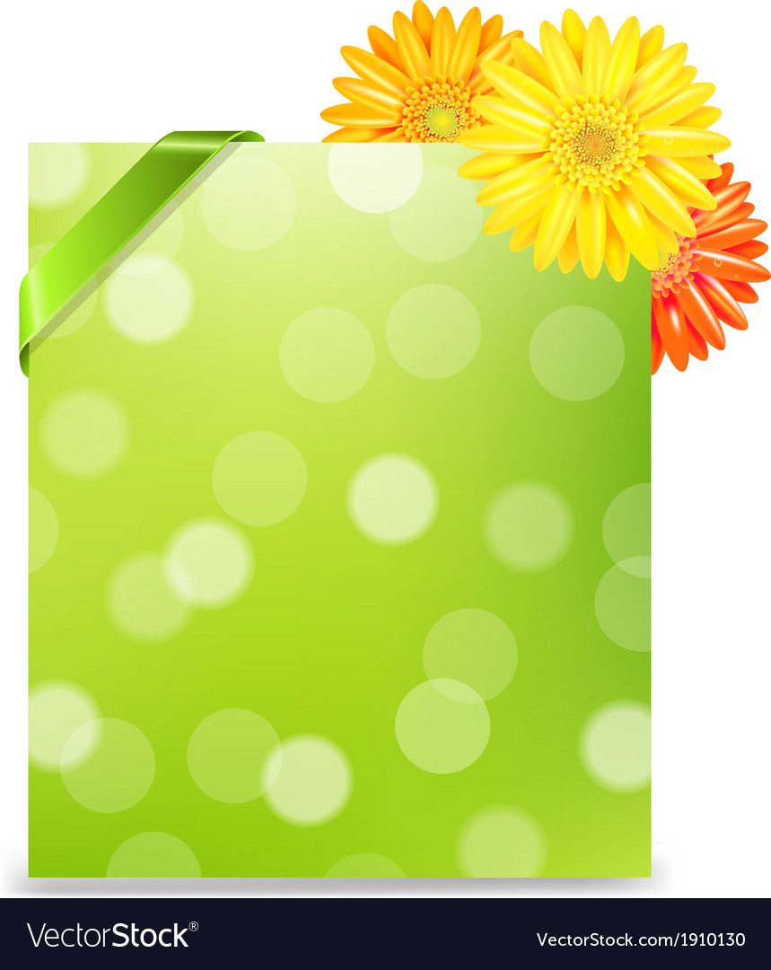 Yellow gerber and blank gift tag vector | Price: 1 Credit (USD $1)