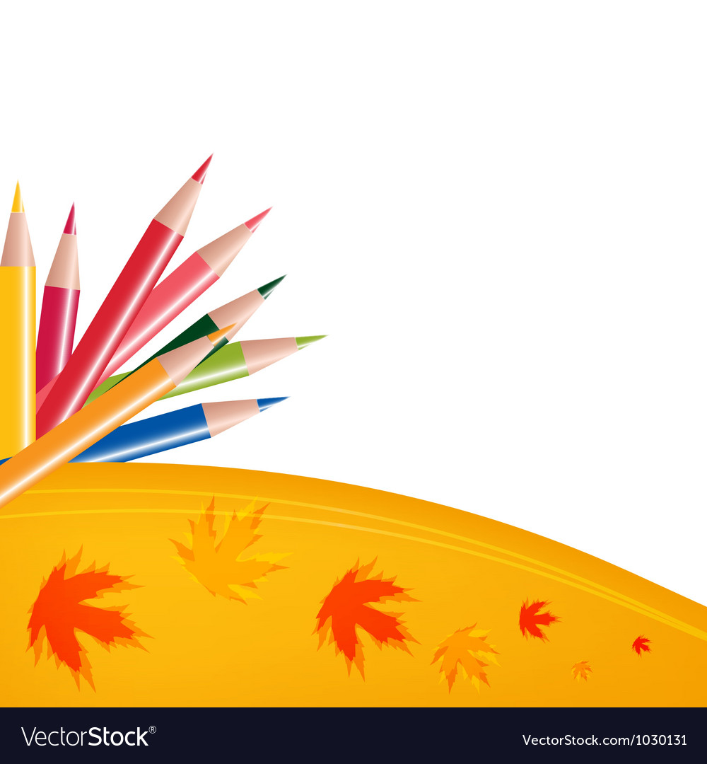 Abstract background with color pencils and leaves vector | Price: 1 Credit (USD $1)