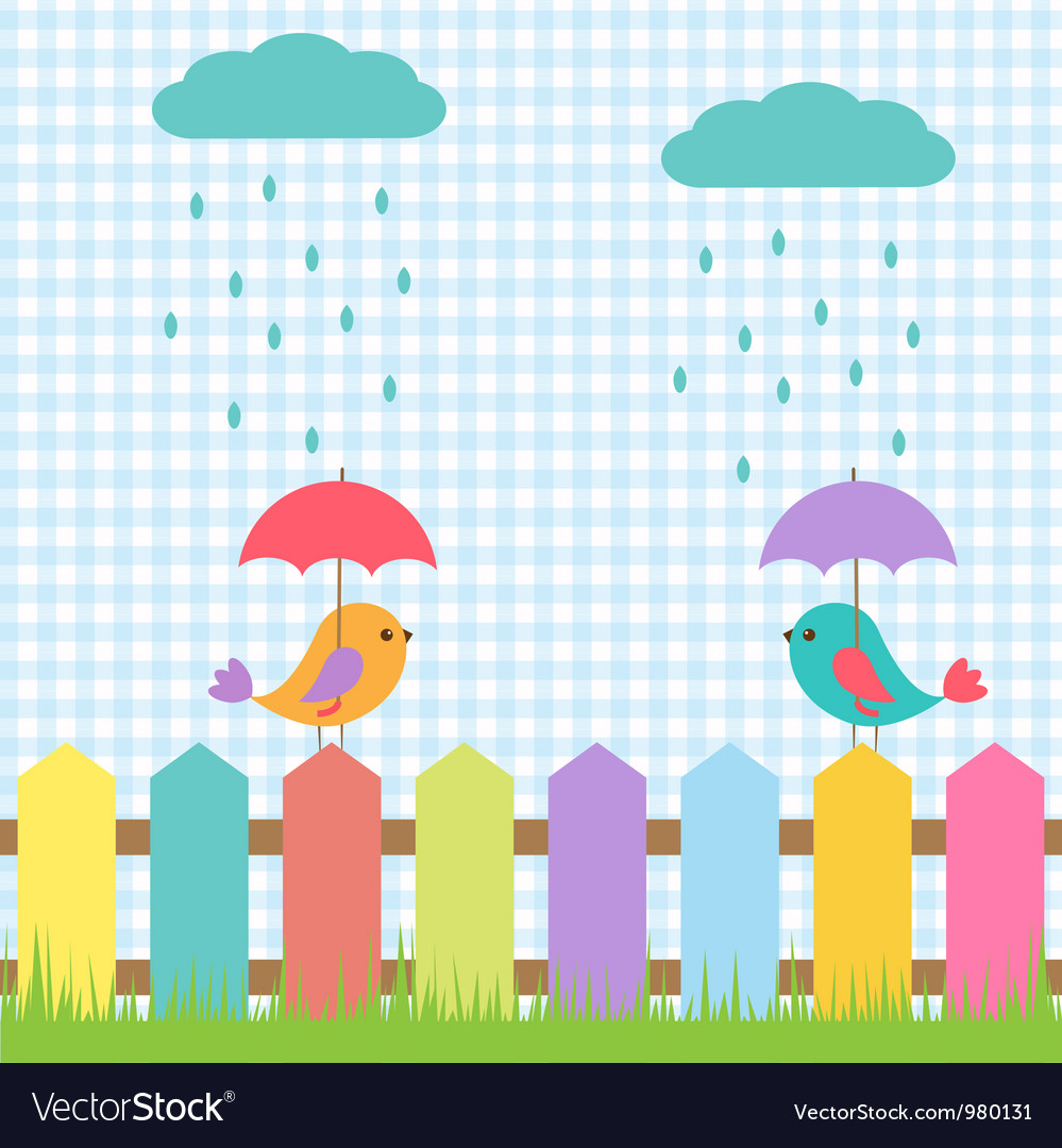 Background with birds under umbrellas vector | Price: 1 Credit (USD $1)