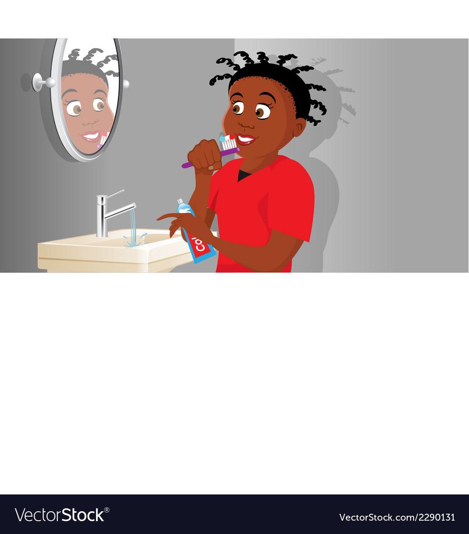 Brushing teeth vector | Price: 1 Credit (USD $1)