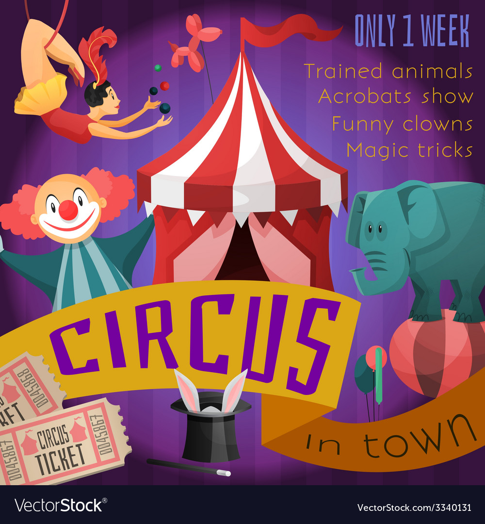 Circus retro poster vector | Price: 1 Credit (USD $1)