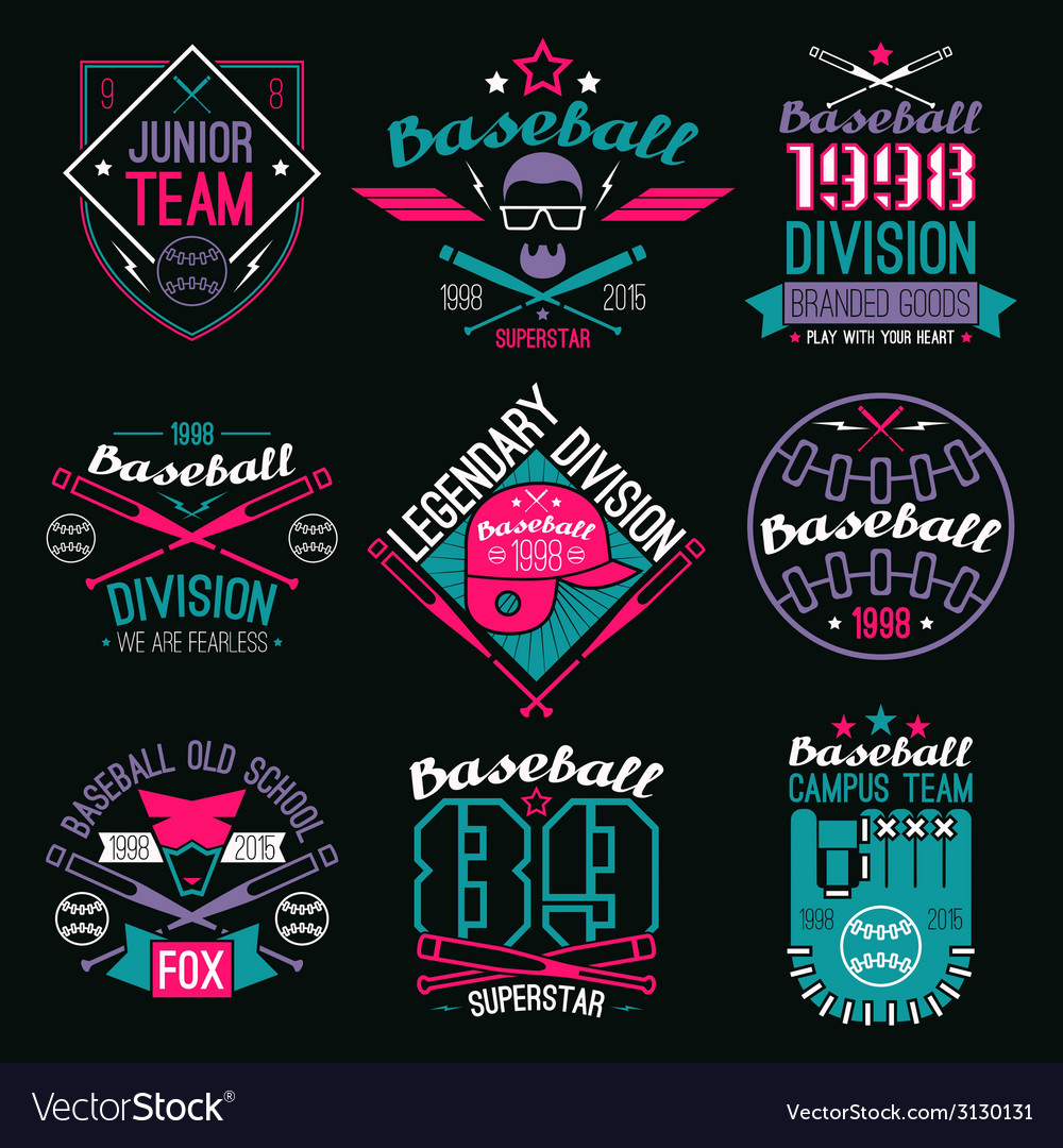 College baseball team emblems vector | Price: 1 Credit (USD $1)