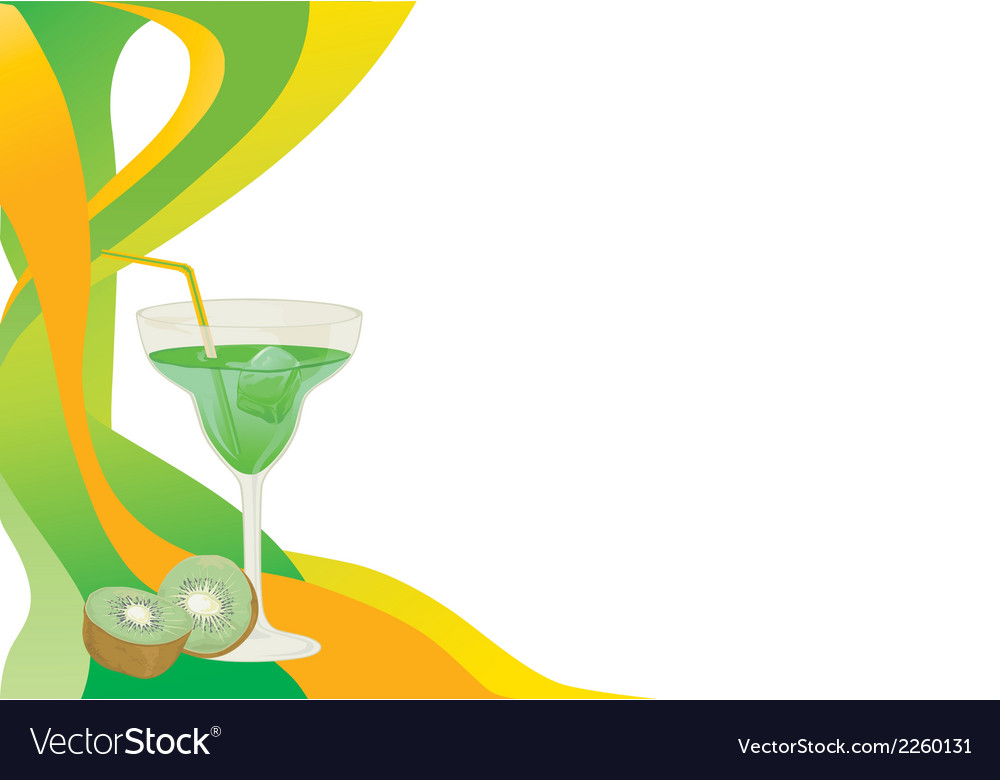Drink card with kiwi vector | Price: 1 Credit (USD $1)