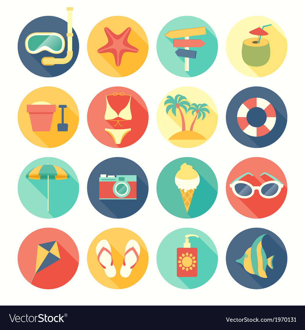 Icons round summer vector | Price: 1 Credit (USD $1)