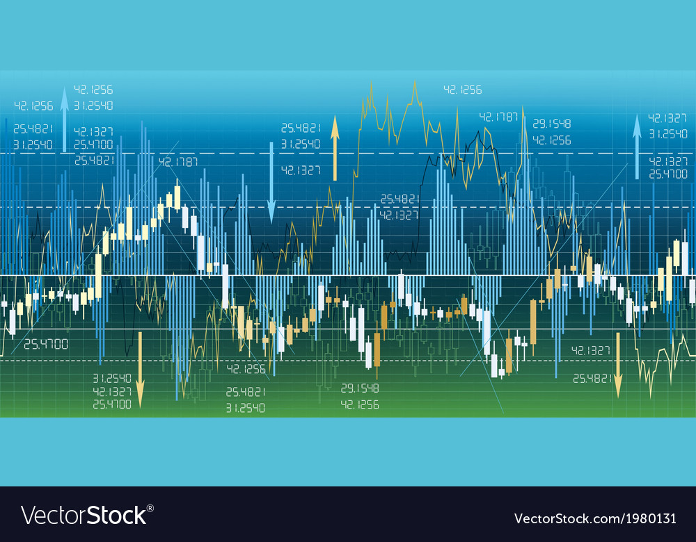 Seamless borders with financial market charts vector | Price: 1 Credit (USD $1)