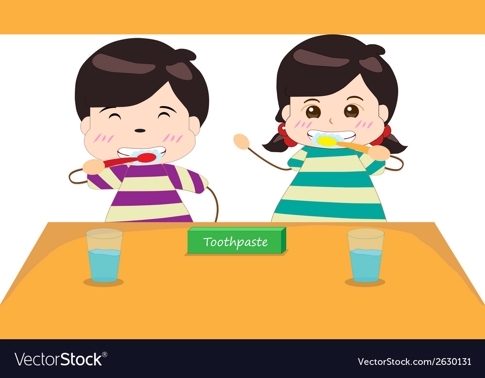 Siblings brushing their teeth together vector | Price: 1 Credit (USD $1)