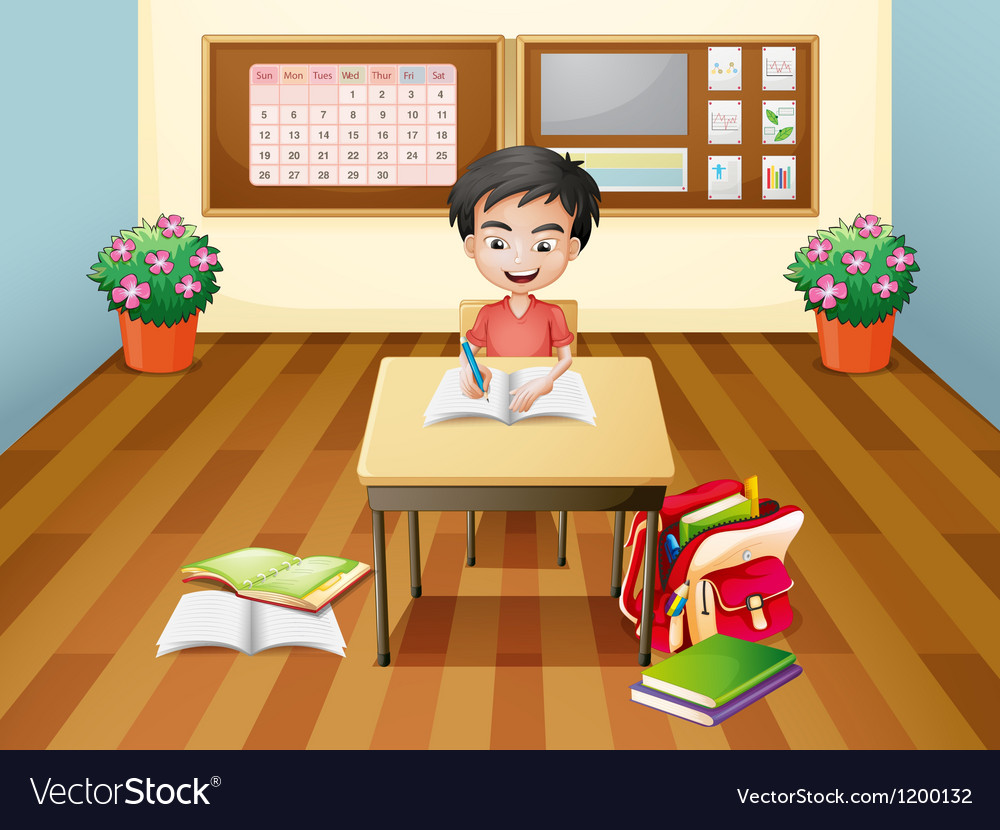A boy writing at the table vector | Price: 1 Credit (USD $1)