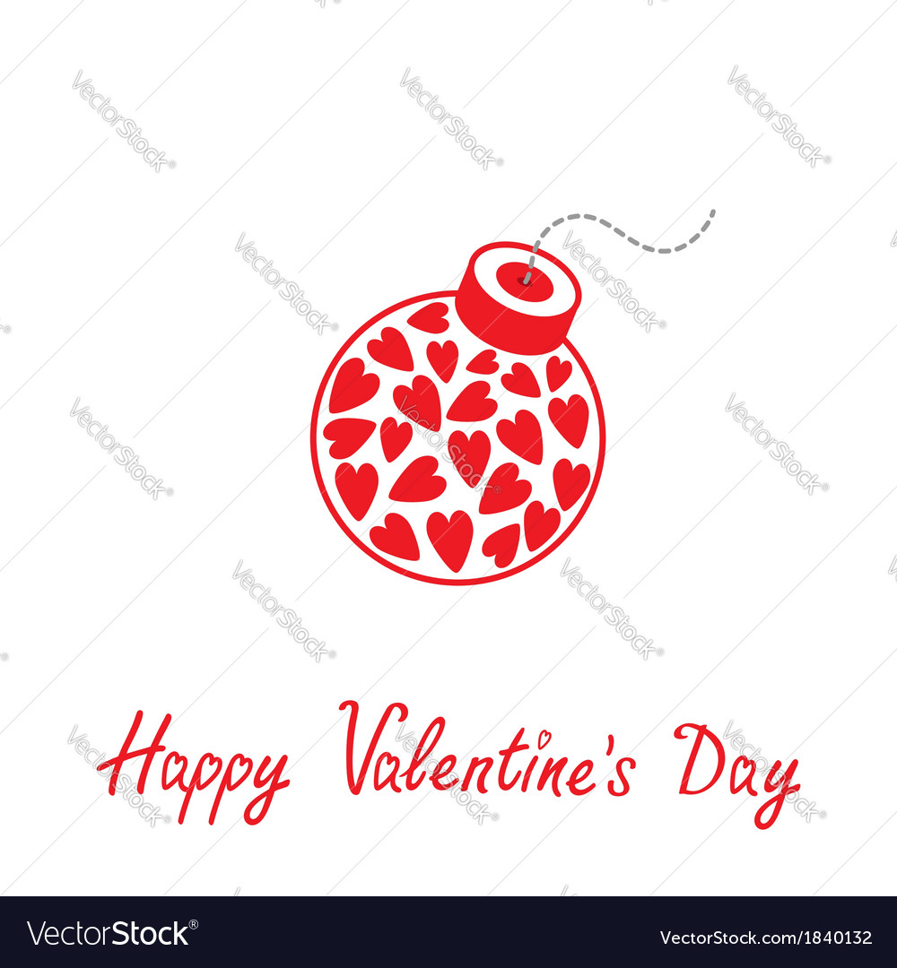 Bomb with hearts inside happy valentines day vector | Price: 1 Credit (USD $1)