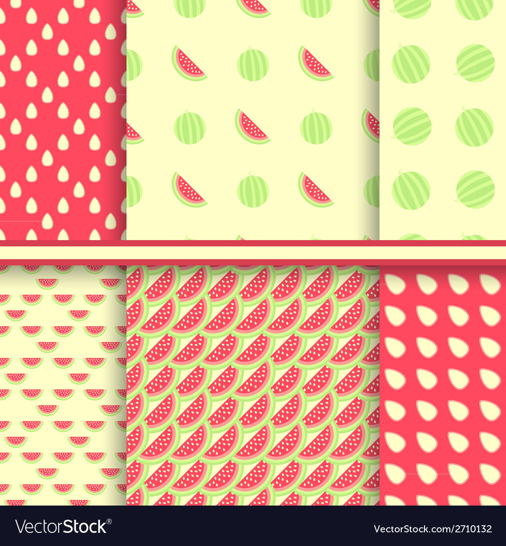 Bright set of seamless patterns with watermelons vector | Price: 1 Credit (USD $1)