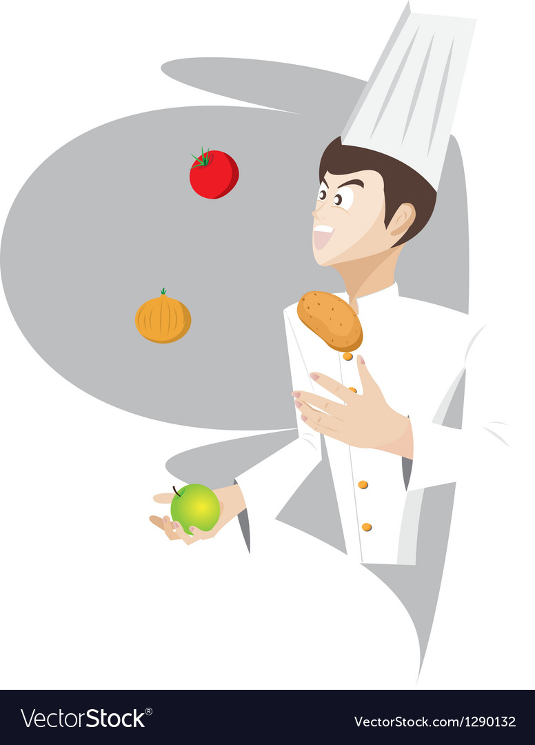 Chef is juggling the food vector | Price: 1 Credit (USD $1)