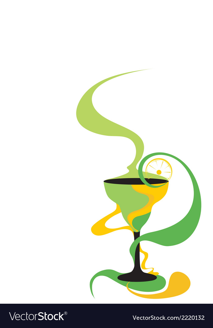 Cocktail glass green and yellow vector | Price: 1 Credit (USD $1)