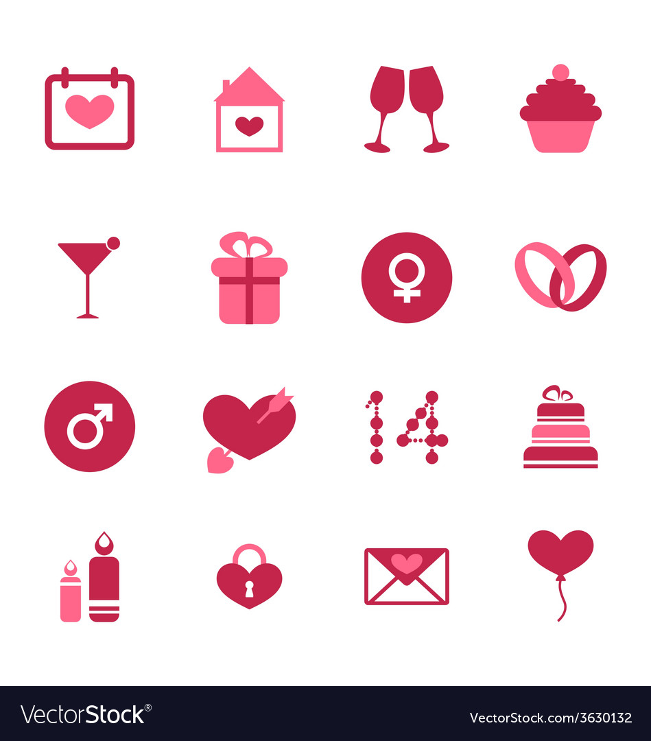 Modern flat icons for valentines day design vector | Price: 1 Credit (USD $1)