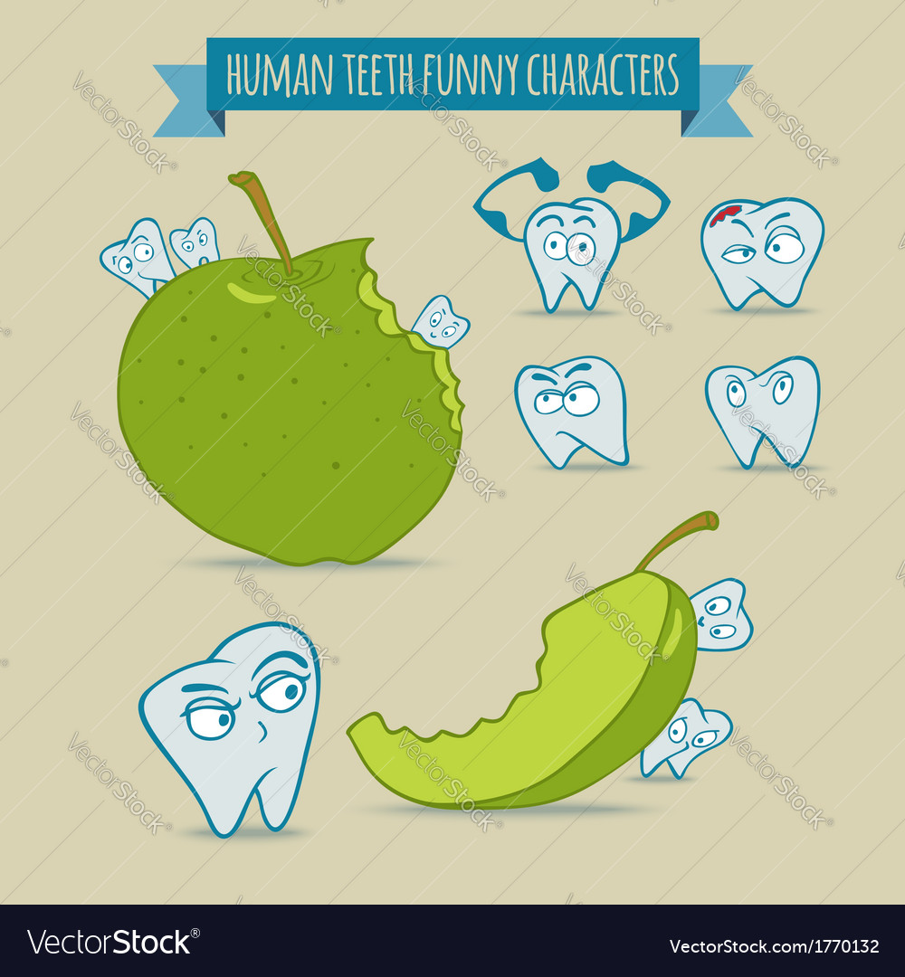 Set of human teeth funny characters with apple vector | Price: 1 Credit (USD $1)