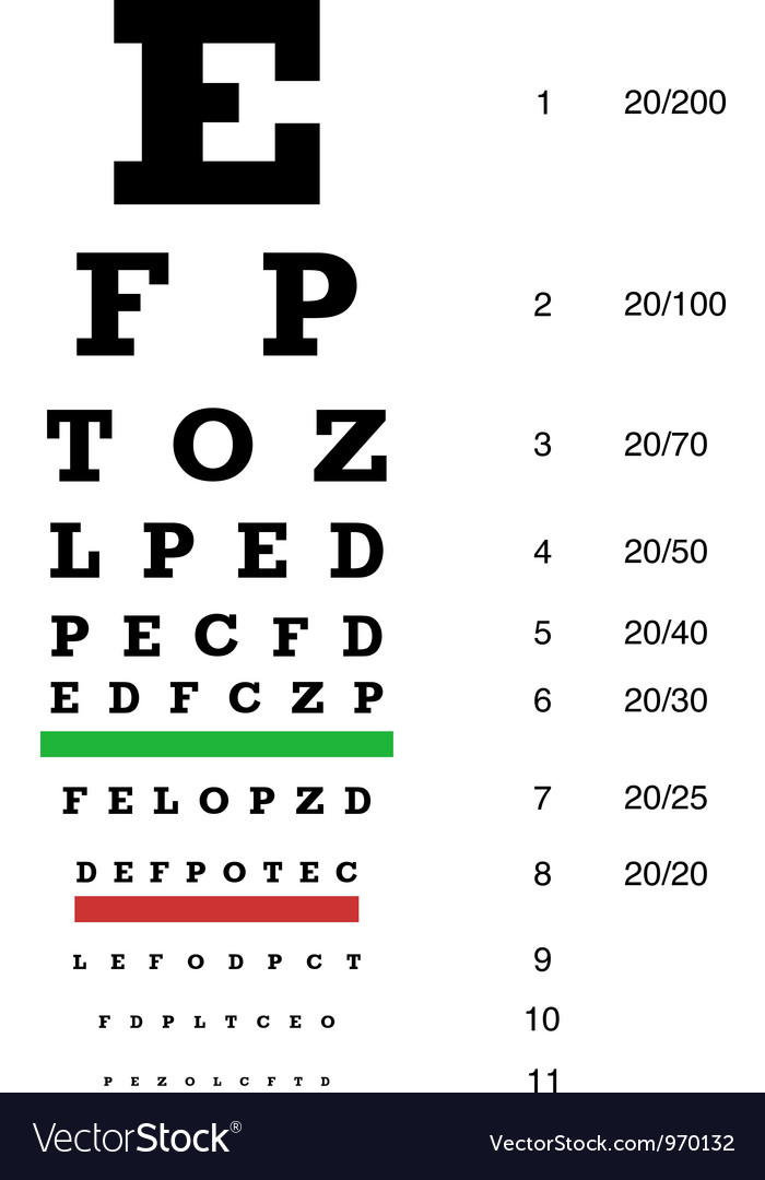 Snellen chart preview vector | Price: 1 Credit (USD $1)