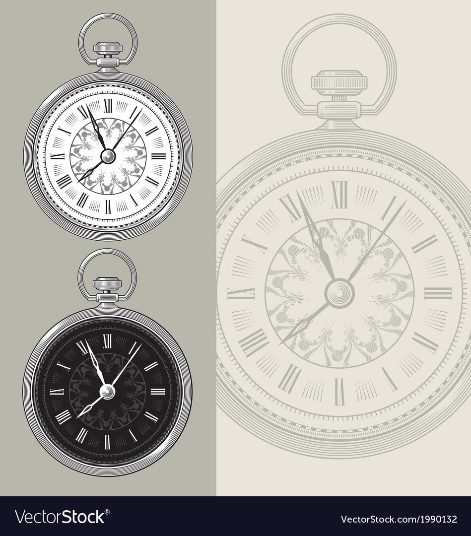 Vintage watch and clock face vector | Price: 1 Credit (USD $1)