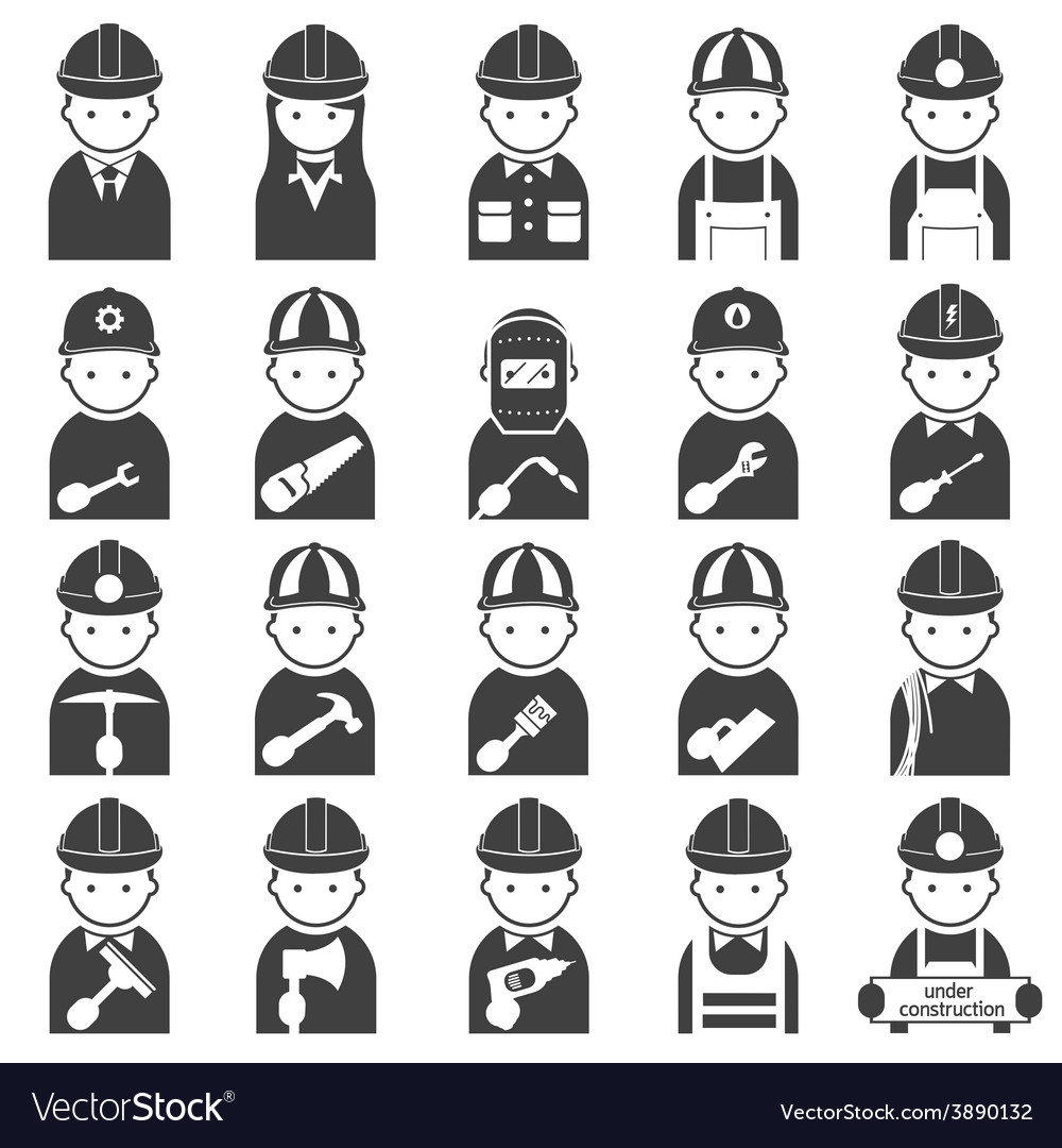 Worker craftsman symbol icons set vector | Price: 1 Credit (USD $1)