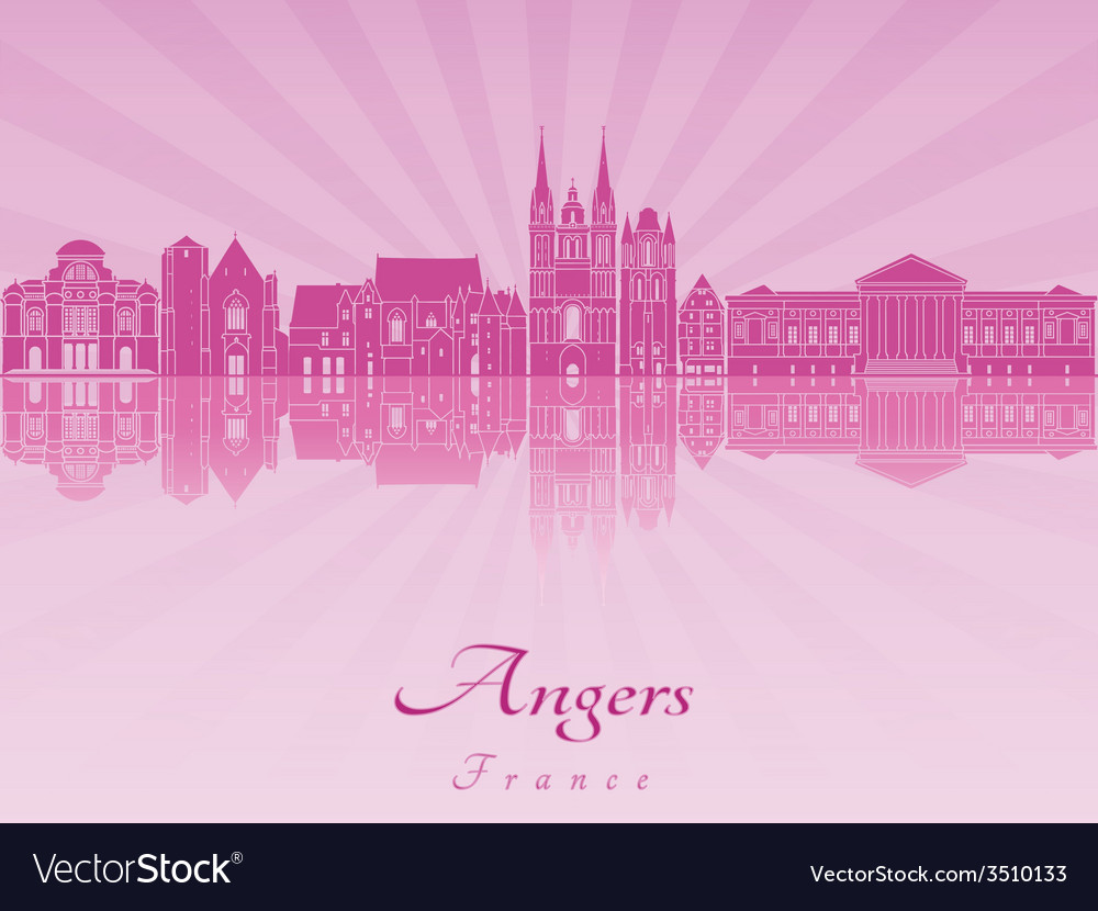 Angers skyline in purple radiant orchid vector   Price: 1 Credit (USD $1)