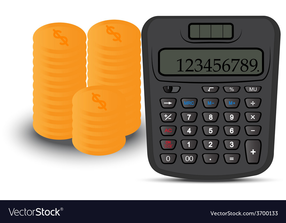 Calculator and coin vector | Price: 1 Credit (USD $1)