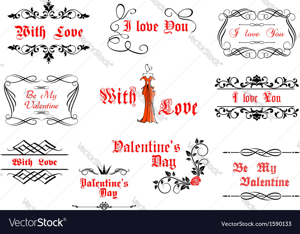 Calligraphic elements with love and valentines vector | Price: 1 Credit (USD $1)