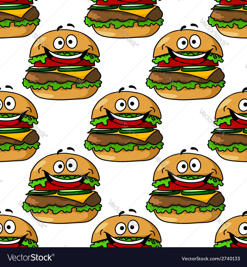 Cartoon hamburger seamless pattern vector | Price: 1 Credit (USD $1)