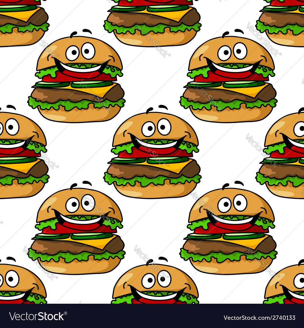 Cartoon hamburger seamless pattern vector | Price: 1 Credit (USD $1)